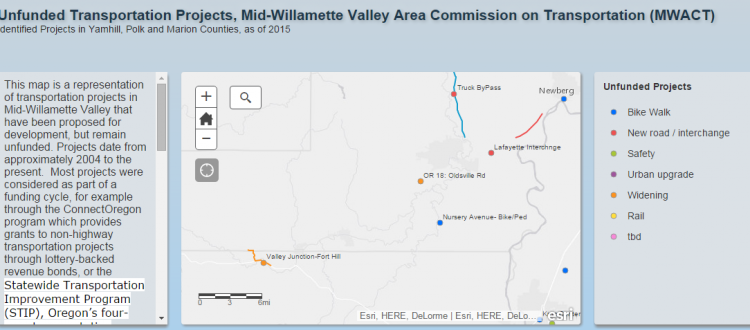Link to interactive map of unfunded transportation projects within MWACT