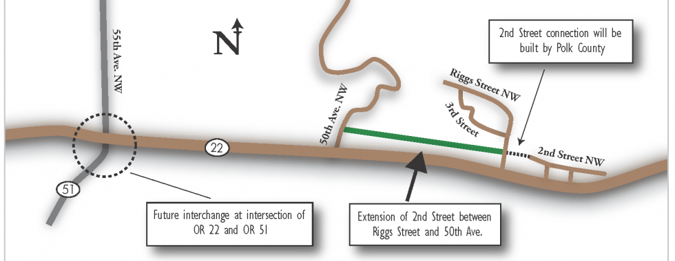 Image of the preferred alternative for 2nd Street extension north of OR 22W