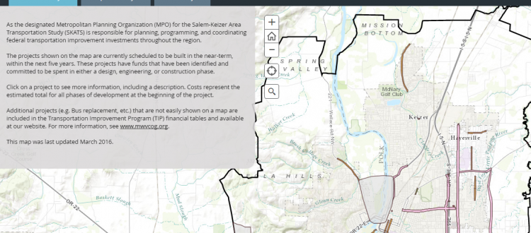 Image of the ArcGIS page for transportation projects in SKATS