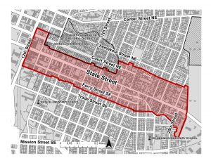 Area of the State Street Corridor Plan is shown in red.