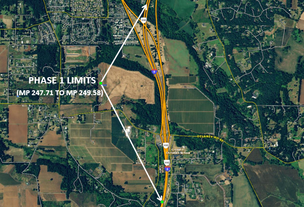 Map showing the location of the project limits to widen I-5.
