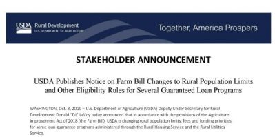 snapshot of a portion of a news release from USDA Rural Development