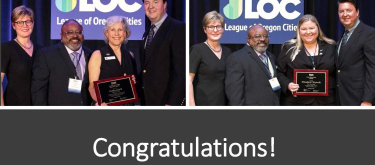 photo collage of Keizer Mayor Cathy Clark and Dayton Mayor Beth Wytoski receiving awards from the League of Oregon Cities