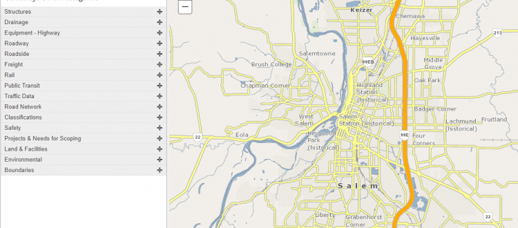 Screen capture of ODOT's TransGIS website showing the highways and roads in Salem area.