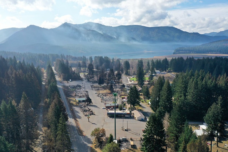 View of Detroit, Oregon in September 2020 during the wildfires. Source: ODOT
